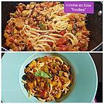recette Pâtes à la saucisse,  aubergine ,courgette, épinards