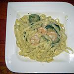 recette Pâtes aux courgettes, crevettes, épices