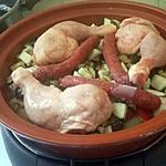 recette Tajine de poulet merguez légumes