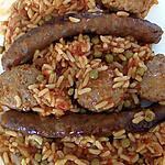 recette boulettes et merguez d'agneau sur riz et petits pois