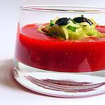 recette Spaghettis de concombre, jus de fraise et olives concassées