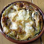 gratin d'oignons rouges au fromage de chèvre (10 mns)