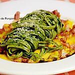 recette Linguine au pesto de pissenlit sur un lit d'omelette