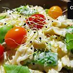 recette Pâtes aux 4 fromages, haricots plats et tomates cerises