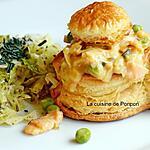 recette Bouchée feuilletée poisson au saumon fumé, poireau et petit pois