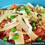 recette Nouilles aux légumes croquants sauce à la sizhuanaise