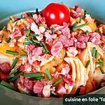 recette Pâtes maison sauce courgette jaune et lardons