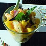 recette Verrines de crevettes mangue et ail noir
