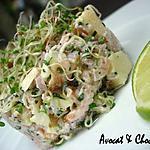 recette ** Fraîcheur fumée rose et verte ou faux tartare : saumon, pomme , fromage frais voilé de graines germées **