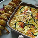 recette Brochette de poulet aux épices et son gratin de pomme de terre&courgettes.