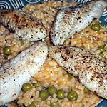 recette Poisson blanc sur lit de riz au petits pois.