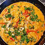recette Poulet coco ail curry curcuma à la coriandre et aux poivrons( un plat sans gluten!..)