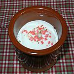recette Petite crème saveur barbe à papa aux pralines roses.