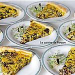 recette Tarte aux champignons et fanes d'oignons, végétarien