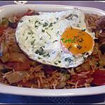 recette Riz aux légumes aux œufs sur le plat.
