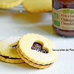 recette Sablé à la poudre à flan garni de pâte à tartiner châtaigne et chocolat