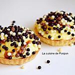 recette Tartelette à la crème pâtissière garnie de billes au chocolat