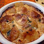 recette gratin de pommes de terre au bleue d'auvergne et lardons
