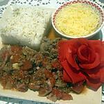 recette Riz à la sauce tomates bolognaise.