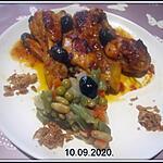 recette Pilons de poulet sauce tomates Provençale.macédoine de légumes.