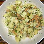 recette Salade de pommes de terre, pois chiches, oignon, olives et ciboulette