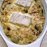 recette pavé de cabillaud sur lit poireau champignons