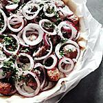 recette Quiche chèvre aux oignons rouges et minis boulettes