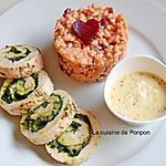 recette Ballotine de filet de poulet au pesto et risotto aux fanes de betterave rouge
