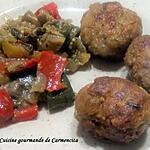 recette Boulettes de viande aux pois chiche et poêlée de légumes d'été