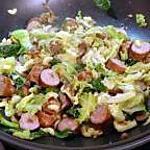 recette Wok de saucisses de Lorraine et chou de Milan