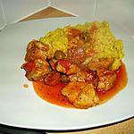recette veau au chorizo et olives et son riz safrané