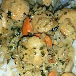 recette Poêlé de  Noix de St Jacques à la crème de curry et coriandre
