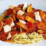 recette Nouilles au boudin de Rethel et sauce tomate courgette poivron