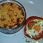 recette Œuf en Cocotte de Tomate et Crumble Pommes de terre au chorizo