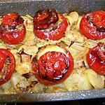 recette tomates farcies sur lit de  pommes de terre