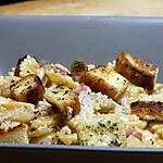 recette Farfalles aux Chicons (Endives), Crème de Lardons  et Croûtons à l'Ail