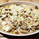 recette Gratin aux fruits de mer, aux endives et aux champignons