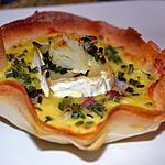 recette Tartelette De Chou fleur au fromage de Chèvre