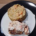 recette Risotto poireaux crevettes et son pavé de saumon en papillote