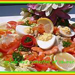 recette SALADE AUX CREVETTES ET SAUMON