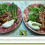 recette Salade tiède asperges vertes, mozzarella, poitrine fumée et roquette