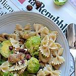 recette Pâtes choux de Bruxelles champignons et noisettes