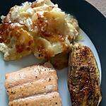 recette Aubergine rôtie, Gratin pomme de terre/courgette et son filet de truite