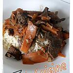 recette Bœuf sauté aux oignons et carottes tagliatelles