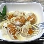 recette Gnocchis de potimarron et patate douce à la sauce au chèvre frais