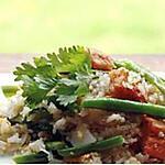 recette Riz sauté aux légumes et peau de porc frite