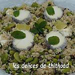 recette taboulé de quinoa aux petits pois, fèves et fromage de chèvre