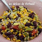 recette salade d'haricots rouges, riz et pomelo