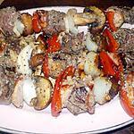 recette Brochettes de boeuf,lard,champignons,poivron rouge,oignon