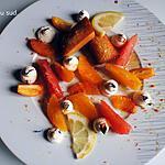 recette Dessert vitaminé , agrumes , miel et financiers à l'amande amère .